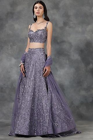 Violet Sequin & Crystal Embellished Lehenga Set by Pooja Peshoria