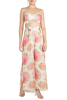 Pink Printed Strapless Bustier by Pernia Qureshi