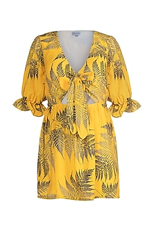 Yellow Printed Cut-Out Dress by Pernia Qureshi