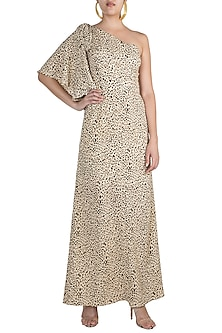 Black & Beige Printed One Shoulder Maxi Dress by Pernia Qureshi