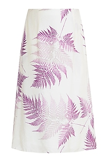 Ivory Printed A-line Skirt by Pernia Qureshi