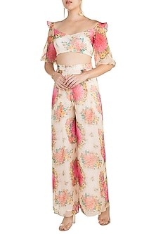 Pink Printed Ruffled Top by Pernia Qureshi