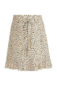 Black & Beige Printed Skirt by Pernia Qureshi