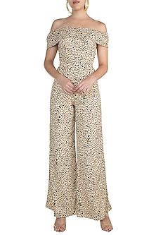 Black & Beige Printed Jumpsuit by Pernia Qureshi
