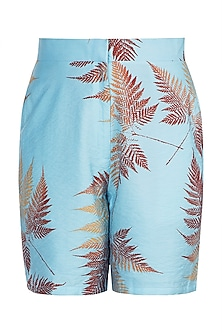 Blue Printed Bermuda Shorts by Pernia Qureshi