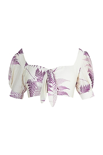 Ivory Printed Knotted Top by Pernia Qureshi