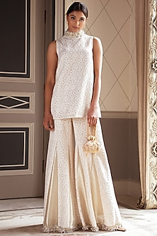 Beige Embroidered Short Kurta With Sharara Pants by Pernia Qureshi