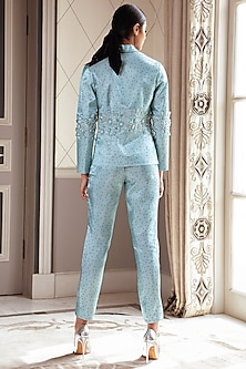 Metallic Teal Crossover Pants by Pernia Qureshi