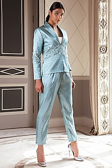 Metallic Teal Embroidered Jacket by Pernia Qureshi