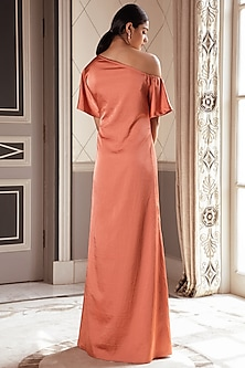 Dusty Orange Embroidered Kaftan Gown by Pernia Qureshi
