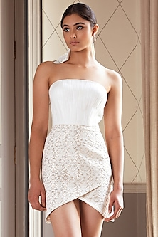 Gold & Ivory Ruched Tulip Dress by Pernia Qureshi