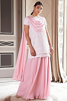 Beige & Blush Pink Embroidered Lehenga Skirt by Pernia Qureshi