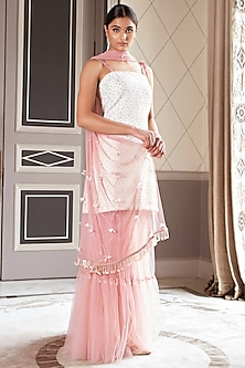 Golden & Blush Pink Embroidered Sharara Set by Pernia Qureshi