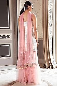 Golden & Blush Pink Embroidered Sharara Set by Pernia Qureshi