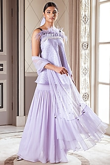 Purple Embroidered Sharara Set by Pernia Qureshi