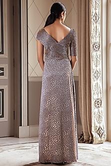 Metallic Grey Draped Gown by Pernia Qureshi
