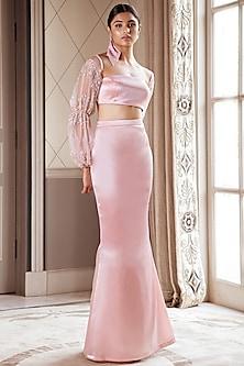 Metallic Blush Pink Fishtail Skirt WIth Embroidered Crop Top by Pernia Qureshi