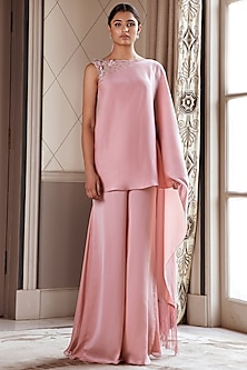 Dusky Pink Embroidered Saree Jumpsuit by Pernia Qureshi