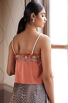 Dusty Orange Embroidered Top by Pernia Qureshi