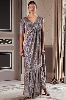 Metallic Grey Embellished Pre-Draped Saree Set by Pernia Qureshi
