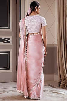Metallic Pink Embroidered Pre-Draped Saree Set by Pernia Qureshi