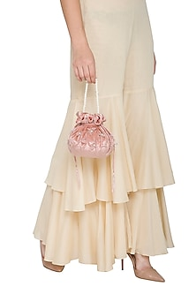 Blush Pink Embroidered Potli by Pernia Qureshi