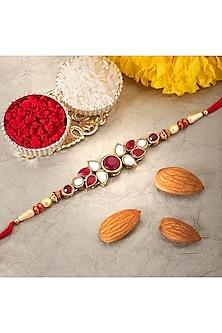Red Floral Rakhi With Kundan Polki by Peora-SEND RAKHIS TO SINGAPORE