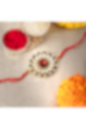 Red Cotton Thread Rakhi With Crystal Stones by Peora