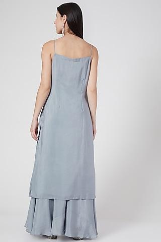 Grey Sharara Set With Sequins Work  by Pesha