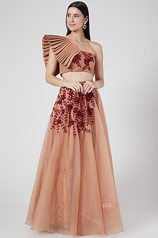 Nude Red 3D Floral Embroidered Lehenga Set  by Pesha
