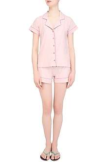 Baby Pink and Red Lace Trims Nightuit Shirt and Shorts Set by Perch