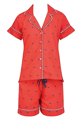 Red and Navy Blue Flamingos Printed Nightsuit Shirt and Shorts Set by Perch
