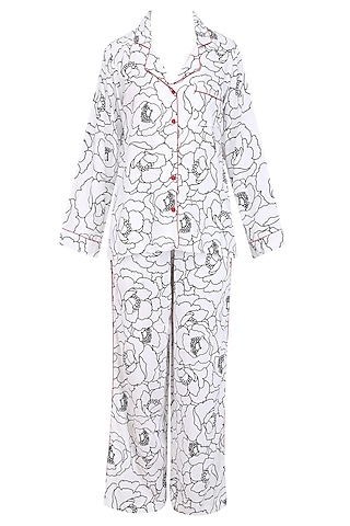 White and Black Bold Flower Monochrome Printed Nightsuit Set by Perch