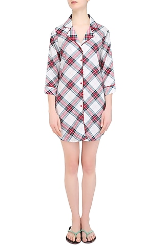 White, Red and Black Plaid Checks Nightsuit Shirt by Perch