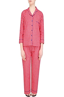Pink Geometric Pattern Nightsuit Set by Perch