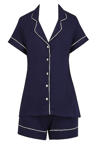 Navy Blue and White Lace Trims Nightsuit Shirts and Shorts Set by Perch