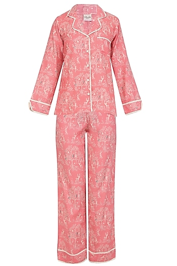 Pink Deer and Trees Printed Nightsuit Set by Perch