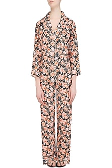 Black and Orange Floral Printed Nightsuit Set by Perch