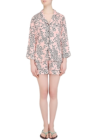 Pink and Black Spots Printed Nightsuit Shirt and Shorts Set by Perch