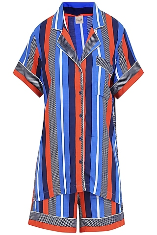 Blue Stripes Printed Nightsuit Shirt and Shorts Set by Perch