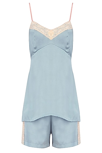 Grey and White Floral Lace Camisole Top and Shorts Set by Perch