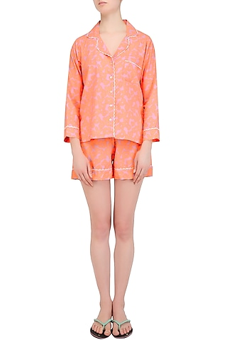 Peach Floral Printed Nightsuit Shirt and Shorts Set by Perch