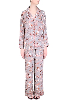 Grey and Orange Floral Printed Nightsuit Set by Perch