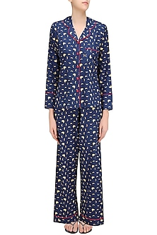 Navy Blue and Yellow Banana Print Nightsuit Set by Perch