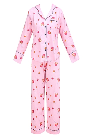 Pink and Orange Floral Printed Nightsuit Set by Perch