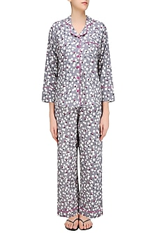 Grey Polka Dot and Floral Printed Nightsuit Set by Perch