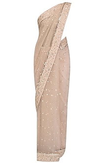 Blush Pink Floral Embroidered Mukaish Work Saree and Blouse Set by Pooja Peshoria