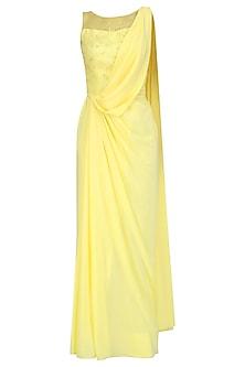 Lemon Yellow Hand Embroidered Drape Saree by Pooja Peshoria