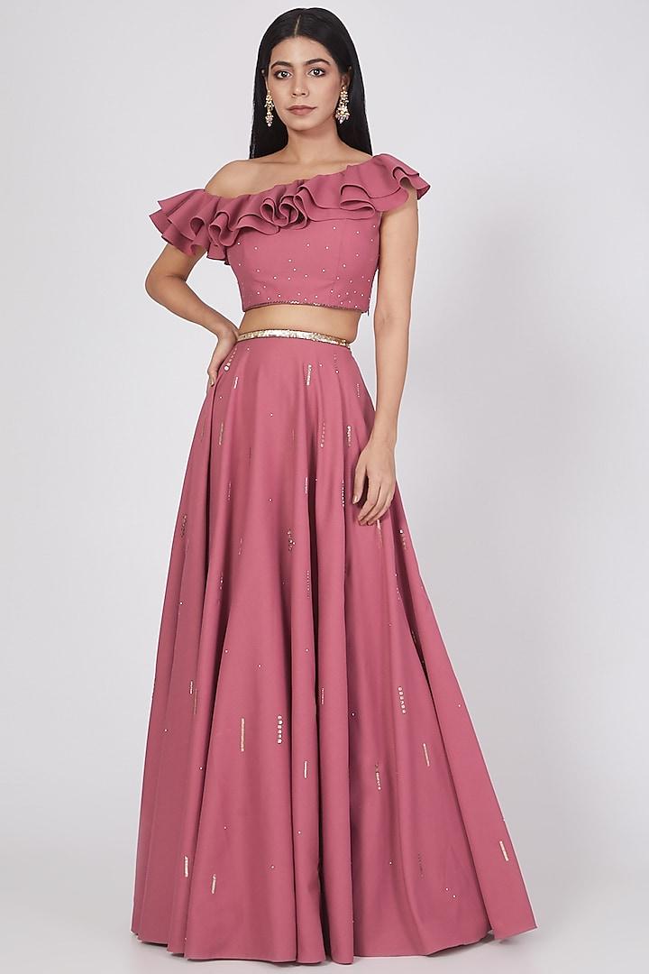 Pink Satin Georgette Skirt Set by Pooja Peshoria