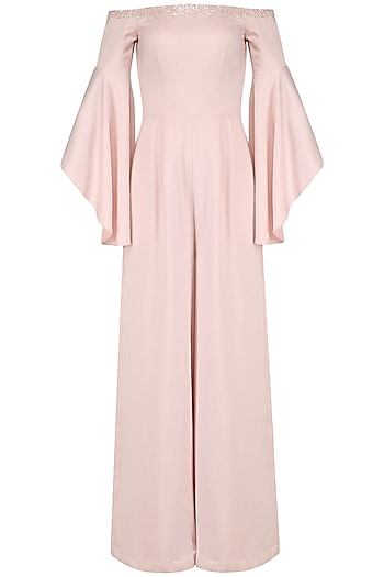 Soft Pink Off Shoulder Bell Sleeves Jumpsuit by Pooja Peshoria